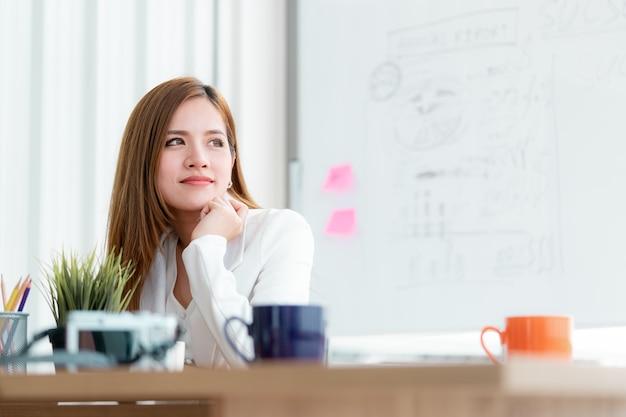 Mulher de negócios está olhando pelas janelas com confiança