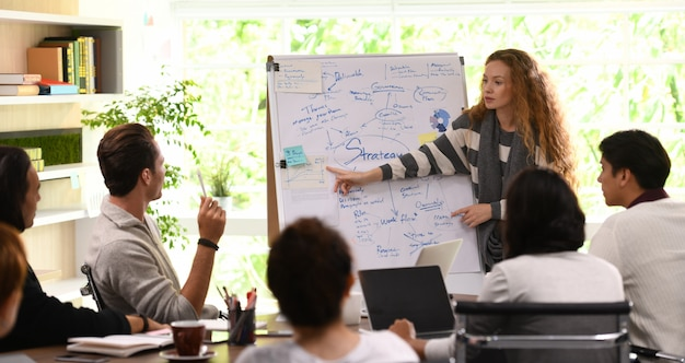 Mulher de negócios jovem dando apresentação sobre planos futuros para seus colegas no escritório