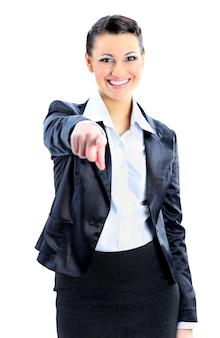 Mulher de negócios linda dedo apontando. isolado em um fundo branco.