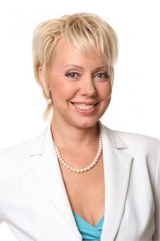 Mulher de negócios linda e sorridente