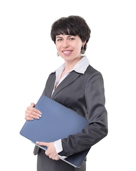Mulher de negócios moderna com laptop. isolado em fundo branco