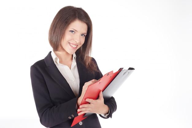 Mulher de negócios trabalhando com prancheta
