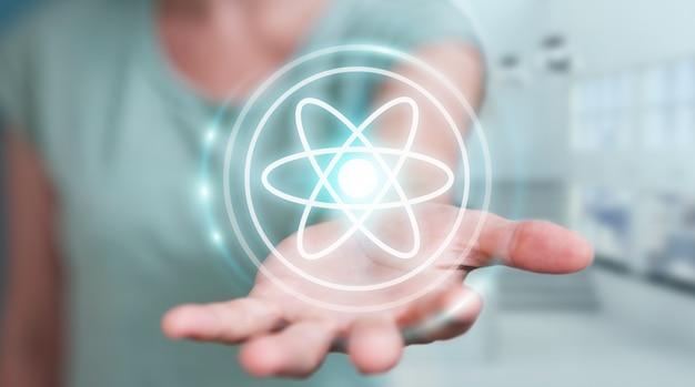 Mulher de negócios usando estrutura de molécula moderna