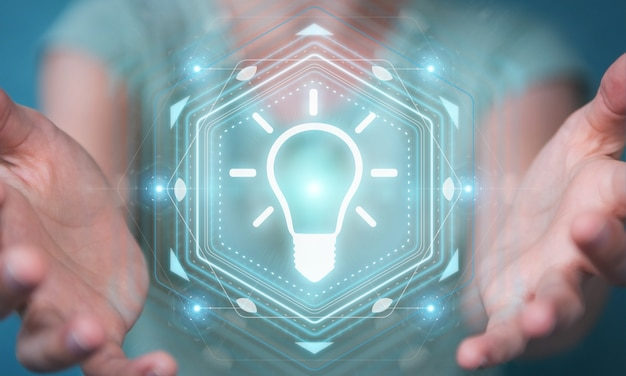 Mulher de negócios usando interface de ideia lâmpada, renderização 3d