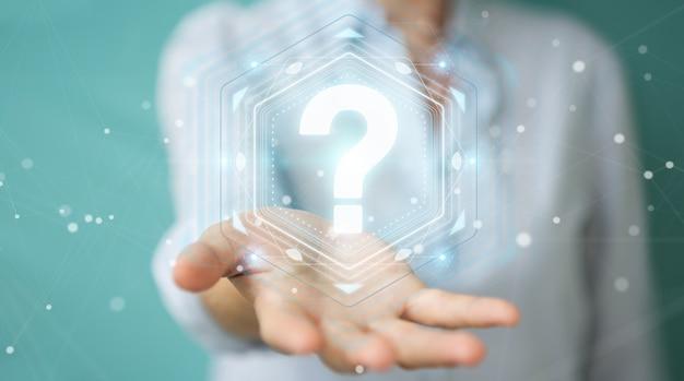 Mulher de negócios usando interface digital com pontos de interrogação