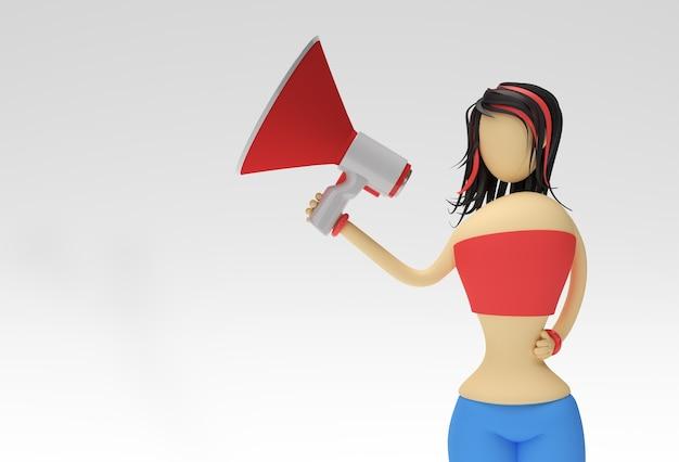 Mulher de personagem de desenho animado em pé com alto-falante em um fundo branco. ilustração 3d