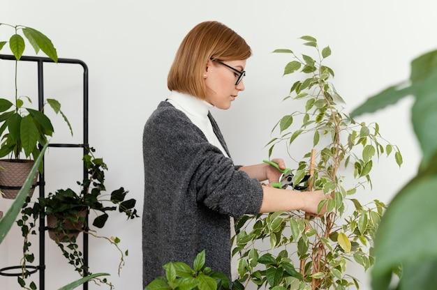 Mulher de tiro médio cortando planta