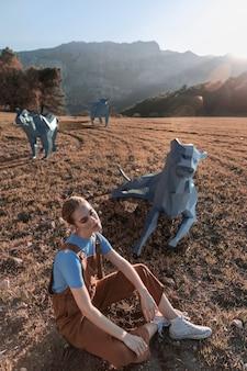 Mulher de vista alta com cães 3d ilustrados