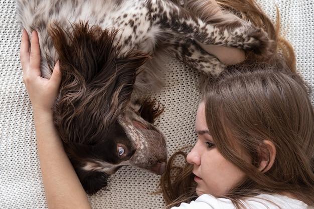 Mulher deitada com os olhos de cores diferentes do russo spaniel cão chocolate merle. no sofá. conceito de cuidados de animais de estimação.