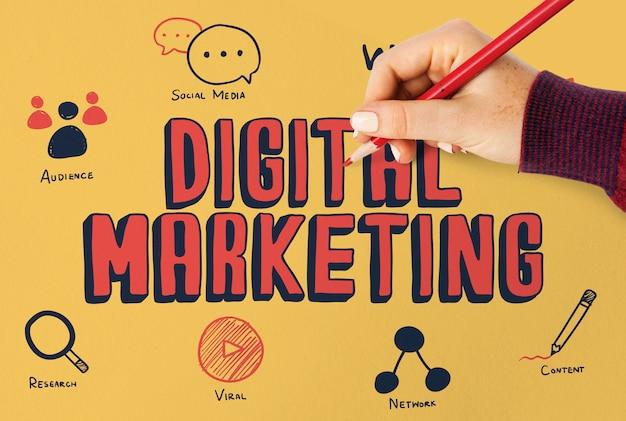 Mulher, desenho, marketing digital, plano, ligado, um, tábua