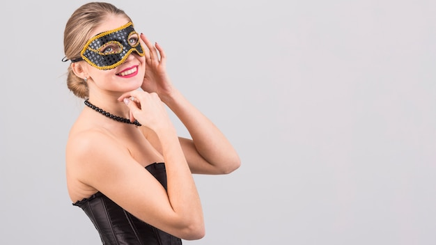 Mulher, desgastar, carnaval, máscara
