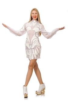 Mulher, desgastar, vestido branco, isolado, branco
