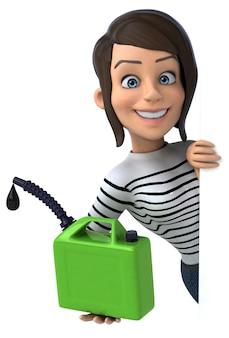 Mulher divertida personagem casual de desenho animado em 3d