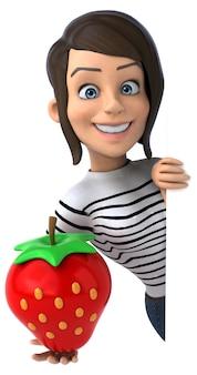 Mulher divertida personagem casual em 3d