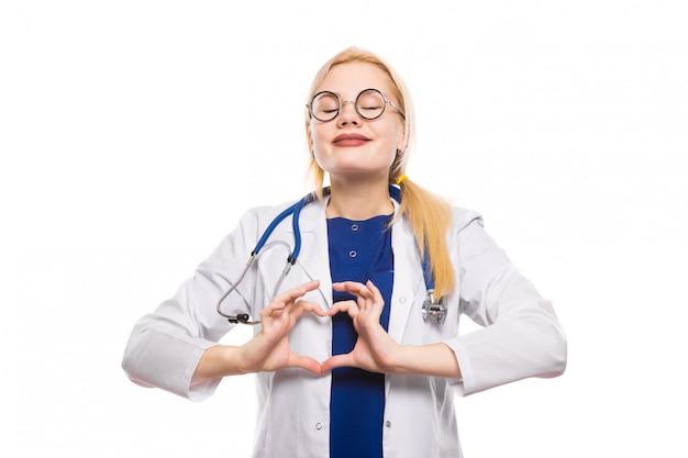 Mulher, doutor, em, jaleco branco