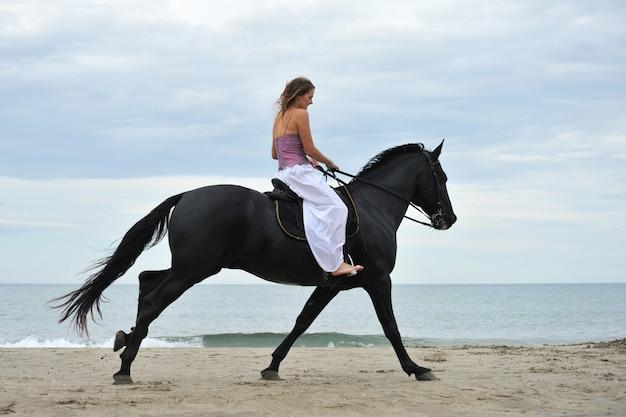 Mulher e cavalo na praia