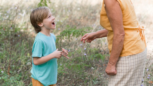 Mulher e criança em close ao ar livre