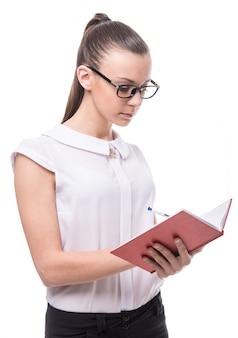 Mulher, é, segurando, caderno