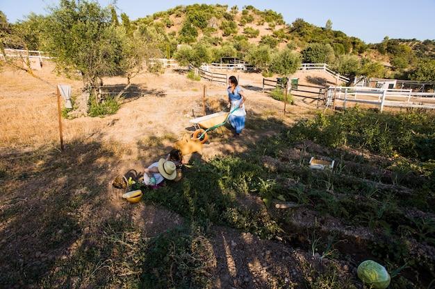 Mulher e sua filha trabalhando no campo