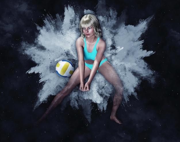 Mulher e voleibol de praia em explosão de pólvora