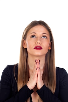Mulher elegante rezando