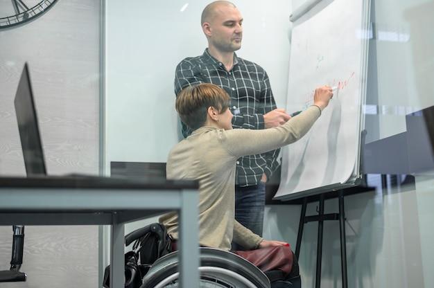 Mulher em cadeira de rodas, escrevendo em um flip chart