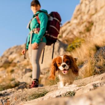 Mulher em cena completa caminhando com um cachorro