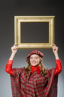 Mulher, em, escocês, roupa, em, arte, conceito