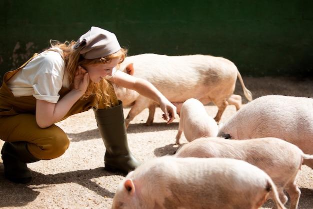 Mulher em filmagem completa alimentando porcos