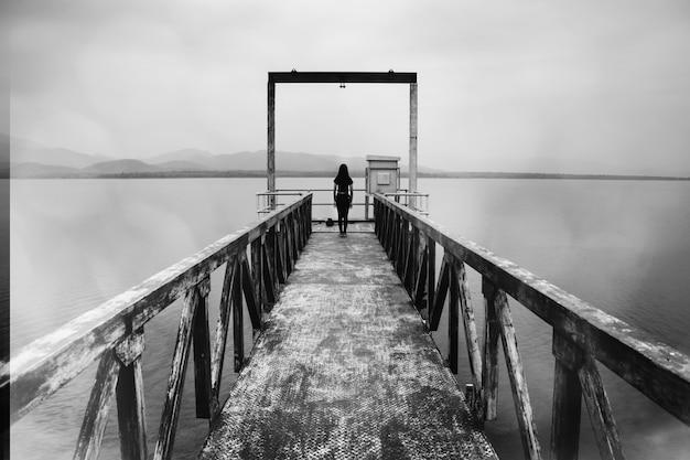 Mulher em pé no portão de nível de água, cena de terror em tom branco