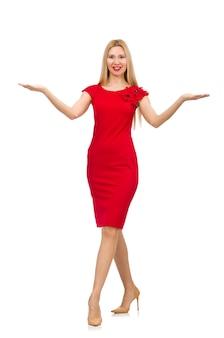 Mulher, em, vestido vermelho, isolado, branco