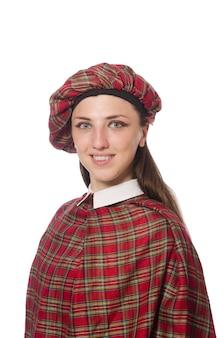 Mulher escocesa isolada no fundo branco