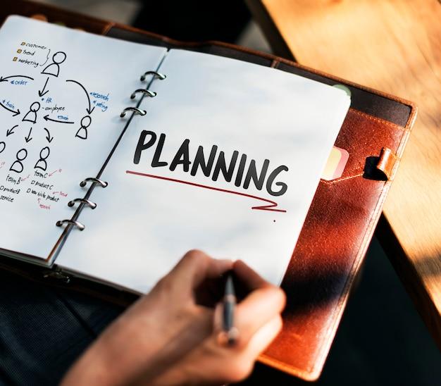 Mulher escrevendo e planejando a estratégia de negócios