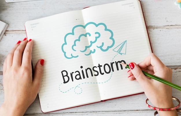 Mulher, escrita, brainstorm, ligado, um, caderno