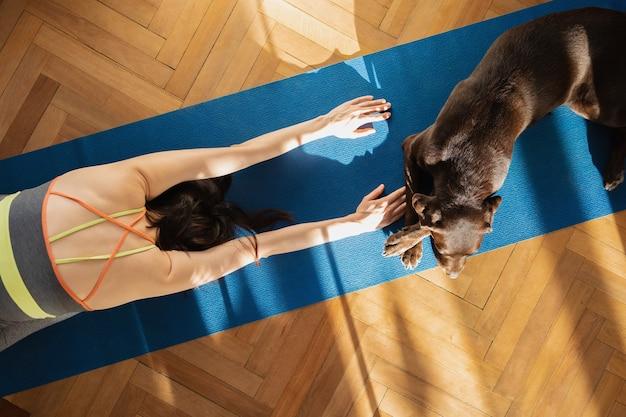 Mulher europeia em um tapete de ioga azul meditando em casa, alongamentos de ioga e práticas de respiração online