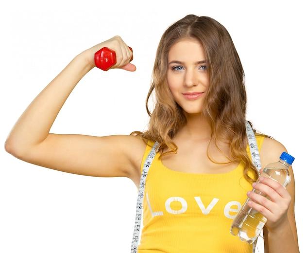 Mulher, exercitar, com, dumbbells
