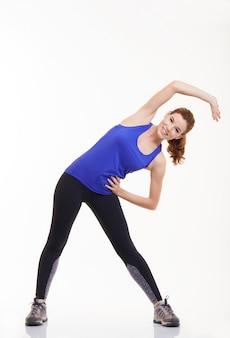 Mulher, exercitar, em, condicão física, estúdio