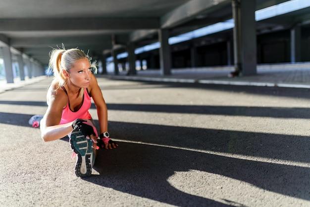 Mulher, exercitar, trabalhando