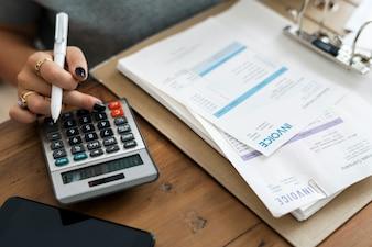 Mulher, fazendo, contabilidade