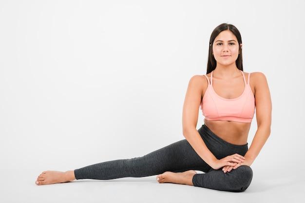 Mulher, fazendo, ioga, exercício