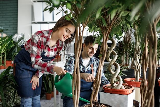 Mulher feliz, ajudando o homem em um centro de planta e regando flores com um regador