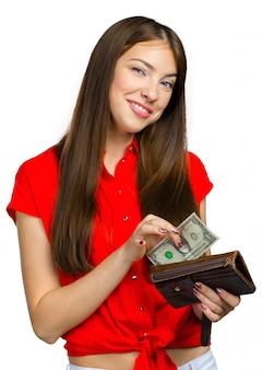 Mulher feliz, com, dinheiro