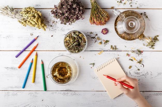 Mulher feliz com ervas medicinais, chá de ervas