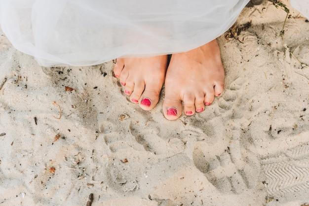 Mulher, ficar, descalço, ligado, um, praia