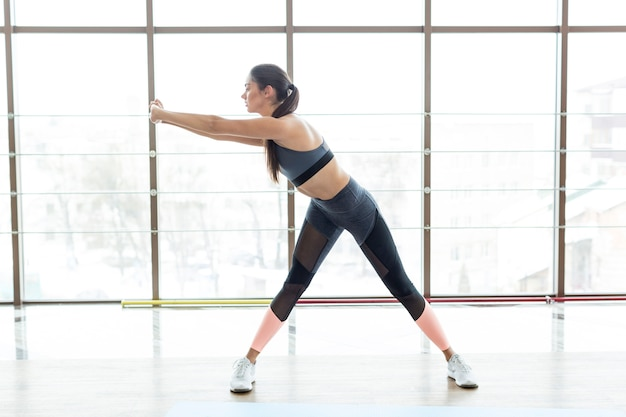 Mulher, ficar, fazendo, condicão física