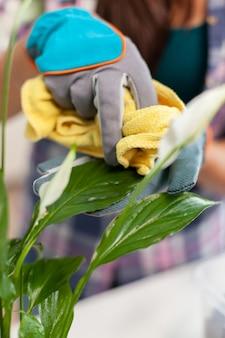 Mulher florista limpando folhas de flores na mesa da cozinha pela manhã