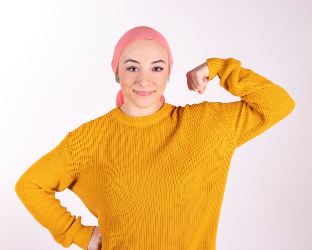 Mulher forte, lutando contra o câncer