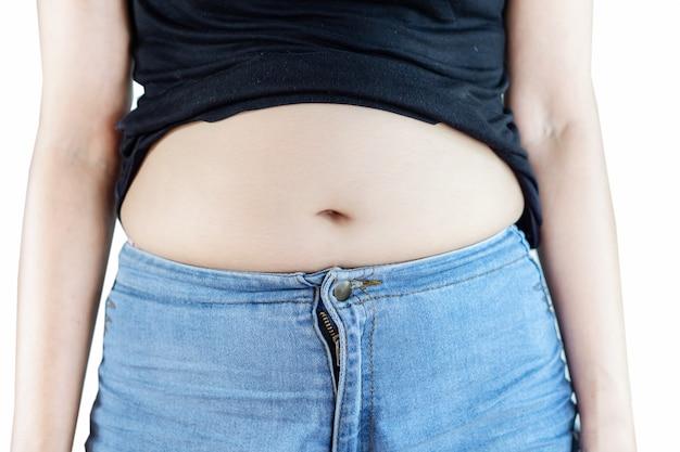 Mulher gorda closeup com barriga grande