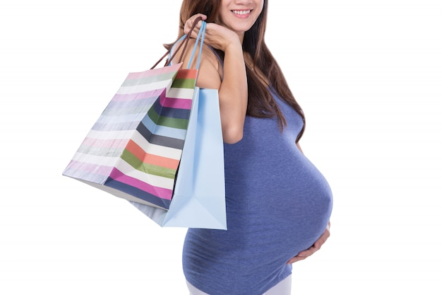 Mulher gravida asiática, segurando, saco papel