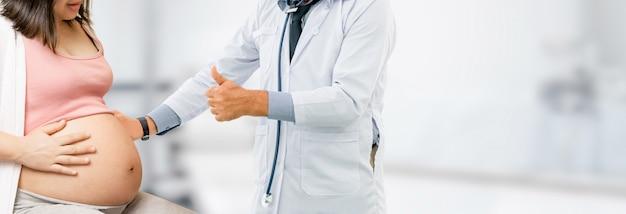 Mulher grávida, e, ginecologista, doutor, em, hospitalar